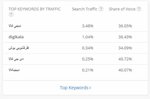TOP KEYWORDS BY TRAFFIC الکسا